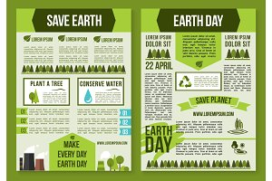 Save Planet and Earth Day poster template set