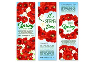 Vector banners for happy spring holiday greetings