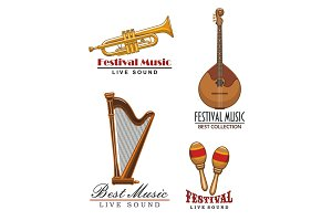 Vector music festival icons of musical instruments