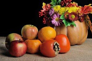 Persimmons, tangerines, apples