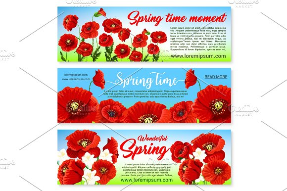 Vector Floral Banners For Spring Holiday Greetings