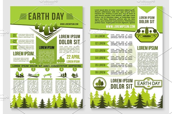 Earth Day Brochure Template For Ecology Design