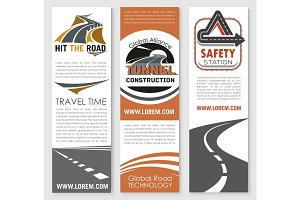 Vector banners of road safety construction company
