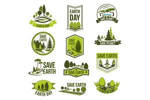 Earth Day, Save Planet eco badge set