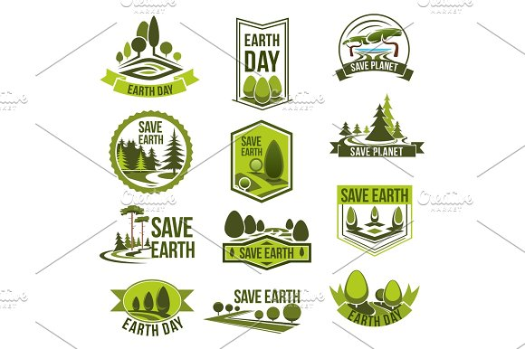Earth Day Save Planet Eco Badge Set Illustrations Creative Market