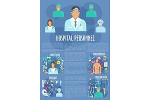 Hospital personnel doctors medical vector poster