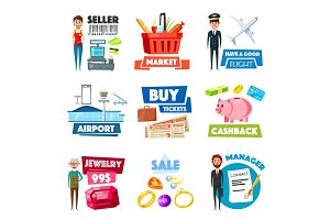 Vector items of selling, jewelry, finance industry