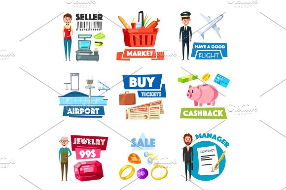 Vector Items Of Selling Jewelry Finance Industry
