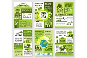 Earth Day poster template for ecology design