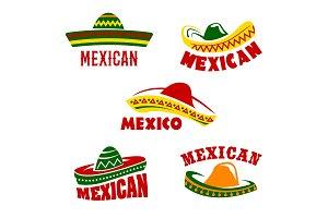 Vector sombrero icons Mexican cuisine restaurant