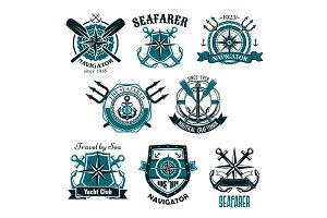 Nautical heraldic vector icons of marine seafarer