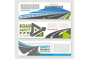 Vector banners set of road safety service company