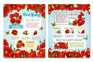Vector posters of spring time red flowers field