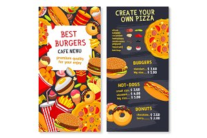Vector menu card template for fast food meals