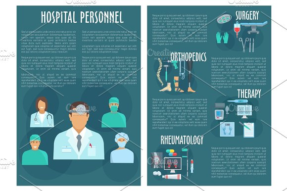 Hospital Personnel Medical Doctors Vector Poster