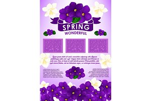 Spring floral poster with flower bouquet design