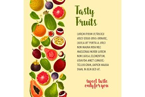 Vector poster of exotic and fresh tropical fruits