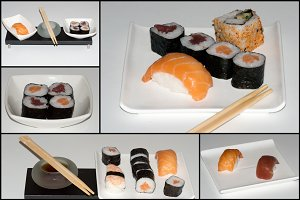 collagee of Sushi Food