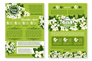 Spring vector wishes posters of flowers bunches