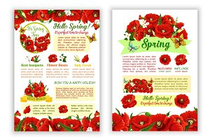 Vector spring time poppy flowers greeting poster