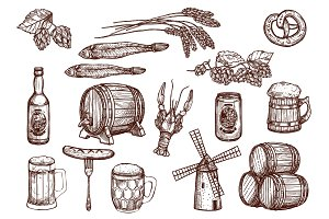 Vector sketch icons of beer snacks and brewery