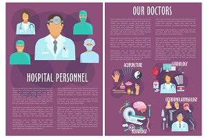 Vector brochure of medical or hospital personnel