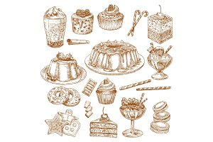 Vector sketch icons of cake desserts and pastry