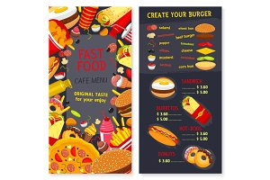Vector menu set for fast food snacks and desserts