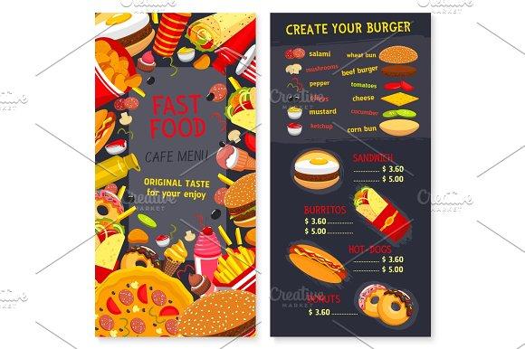 Vector Menu Set For Fast Food Snacks And Desserts