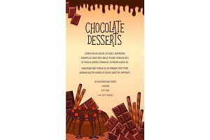 Vector poster of chocolate desserts and cakes