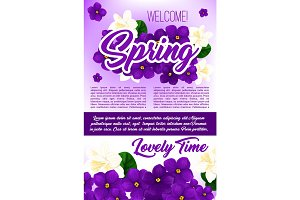 Spring season holidays floral poster template