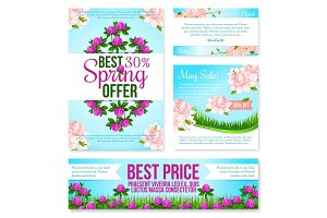 Spring sale poster, discount floral card template