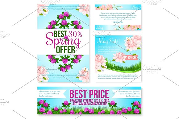 Spring Sale Poster Discount Floral Card Template