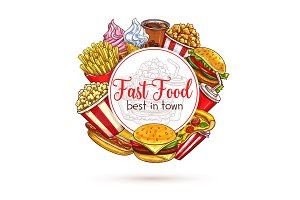 Vector sketch poster of fast food meals for menu