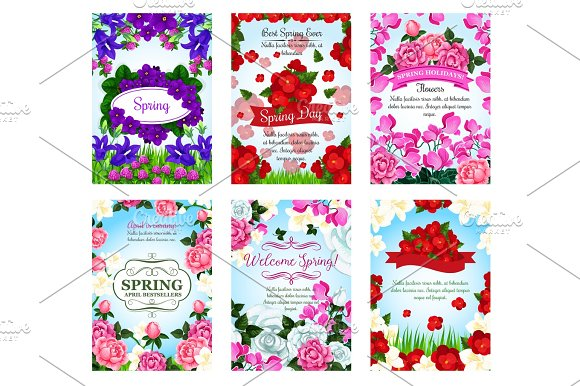 Springtime Greeting Cards Spring Flowers Bouquets