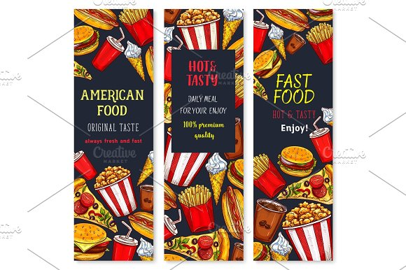 Vector Banners Set For Fast Food Restaurant