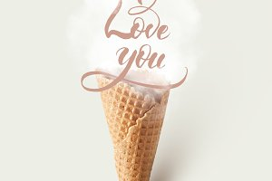 Ice cream cone with love concept