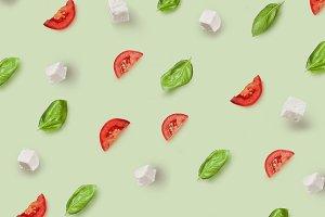 mozzarella, cherry tomatoes and basil pattern