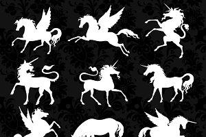 Unicorn and Pegasus Silhouettes