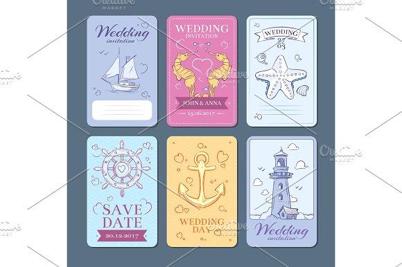 Marine Sea Voyage Vector Wedding Invitation Cards Set