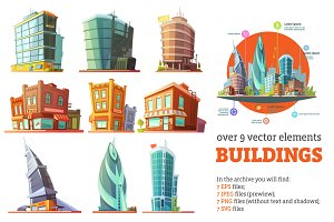 Buildings Cartoon Set