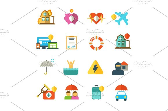 Long Life Insurance Vector Flat Icons Family Money Protection Symbols