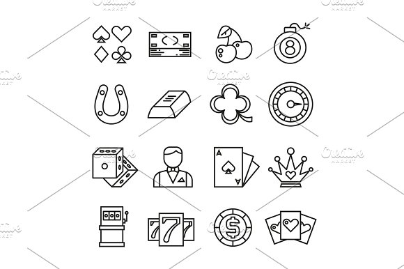 Gambling Casino Poker Thin Line Vector Simple Icons