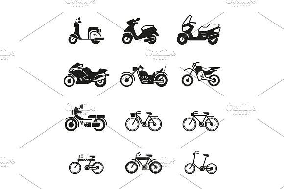 Motorcycle Motorbike Scooter Chopper And Bicycle Vector Silhouette Icons