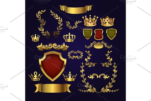 Golden Vector Heraldic Elements Kings Crowns Laurel Wreath And Royal Shield For 3D Labels And Badges
