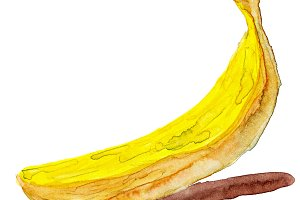 Ripe banana with watercolor paint