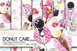Donut Care Digital Paper -Pastels-