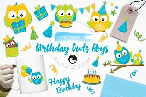 Birthday Owls Boys illustration pack