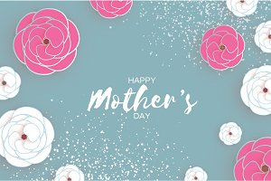 Happy Mother's Day Greeting card. White Pink Paper cut Flower. Space for text.