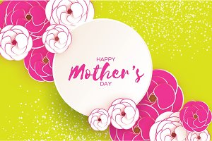 Happy Mother's Day Greeting card. Pink White Paper cut Flower. Circle Frame. Space for text.